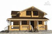 Фото: дом из бревна с большой террасой