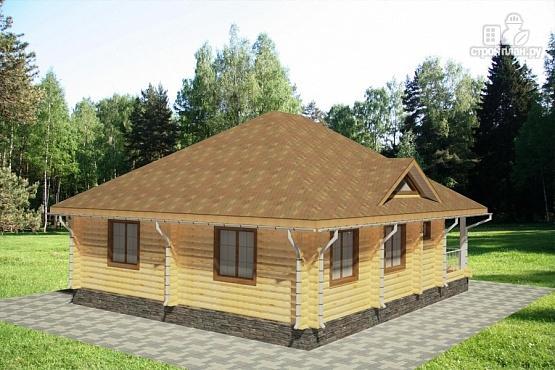 Фото 2: проект одноэтажный дом из бревна с террасой