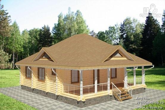 Фото: проект одноэтажный дом из бревна с террасой