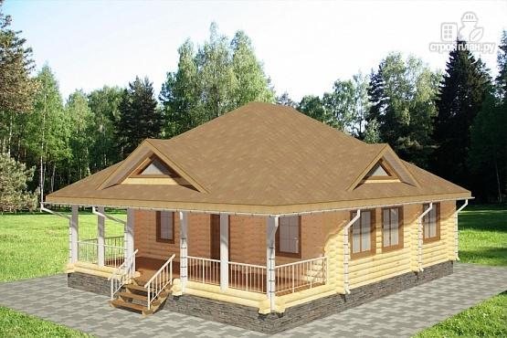 Фото 3: проект одноэтажный дом из бревна с террасой
