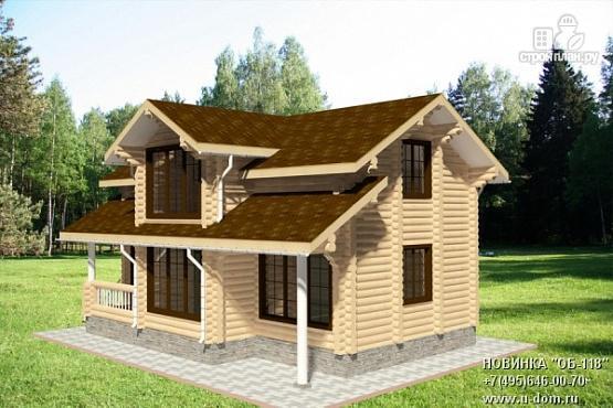Фото: проект дом из бревна с крыльцом