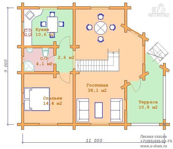 Фото 5: проект дом 9х11 из бревна с террасой и вторым светом в гостиной