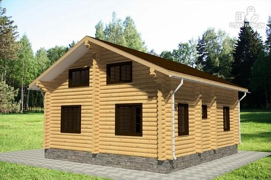 Фото 4: проект дом 9х11 из бревна с террасой и вторым светом в гостиной