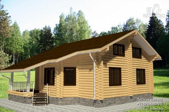 Фото: проект дом 9х11 из бревна с террасой и вторым светом в гостиной
