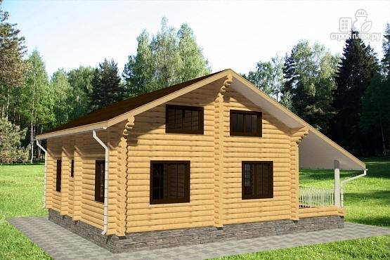 Фото 3: проект дом 9х11 из бревна с террасой и вторым светом в гостиной