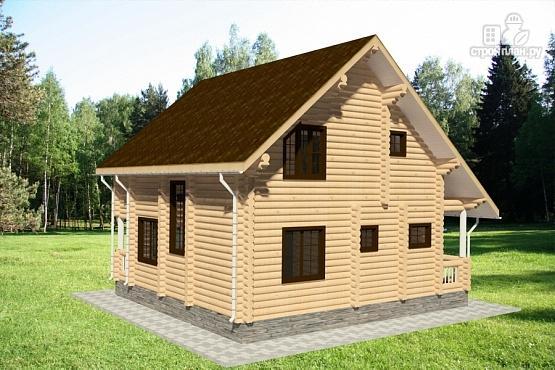 Фото 3: проект бревенчатый дом с двумя террасами и балконом