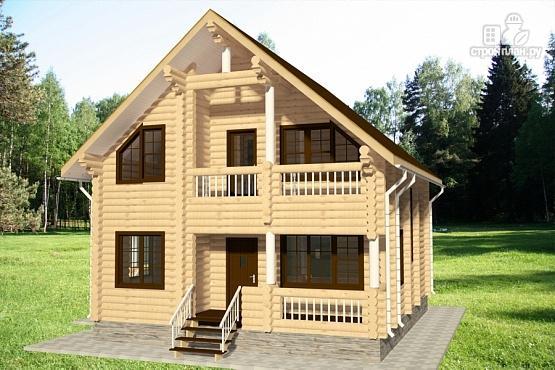 Фото 2: проект бревенчатый дом с двумя террасами и балконом