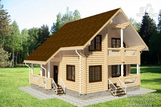 Фото: проект бревенчатый дом с двумя террасами и балконом