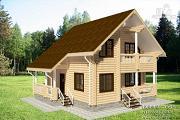 Проект бревенчатый дом с двумя террасами и балконом