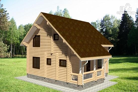 Фото 4: проект бревенчатый дом с двумя террасами и балконом
