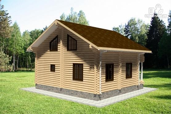 Фото 3: проект дом из бревна 9х9 с балконом, террасой и парной