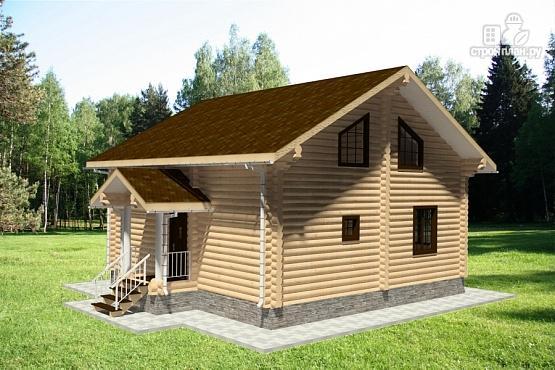 Фото 4: проект дом из бревна 9х9 с балконом, террасой и парной
