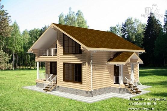 Фото: проект дом из бревна 9х9 с балконом, террасой и парной