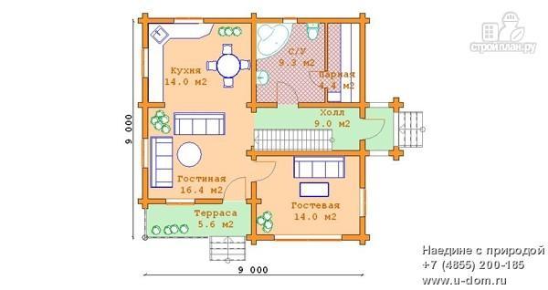 Фото 5: проект дом из бревна 9х9 с балконом, террасой и парной