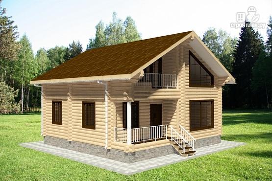 Фото 2: проект дом из бревна 9х9 с балконом, террасой и парной