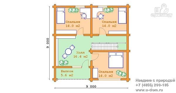 Фото 6: проект дом из бревна 9х9 с балконом, террасой и парной