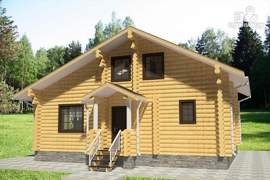 Фото 4: проект дом из бревна с террасой и вторым светом в гостинной