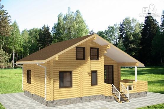 Фото 2: проект дом из бревна с террасой и вторым светом в гостинной