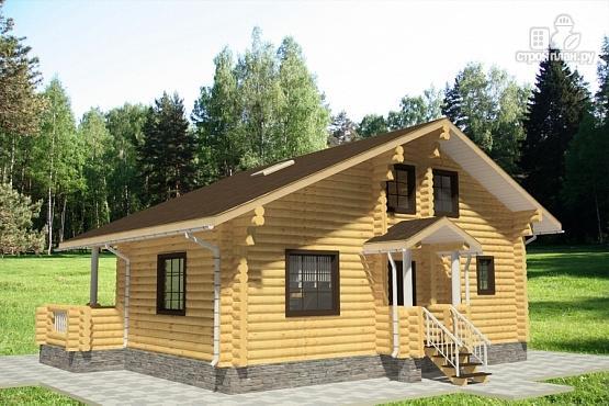 Фото 3: проект дом из бревна с террасой и вторым светом в гостинной