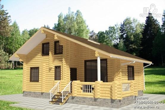 Фото: проект дом из бревна с террасой и вторым светом в гостинной