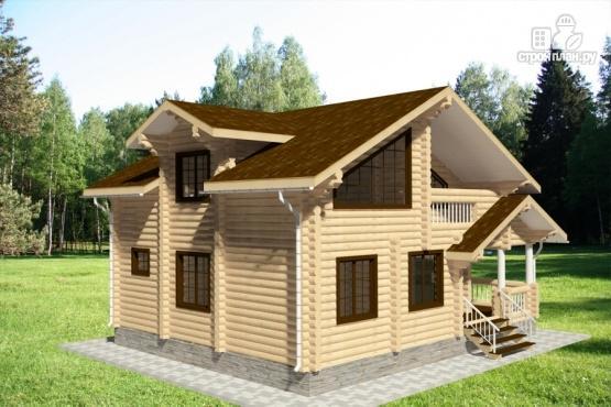 Фото 2: проект дом из бревна с балконом и угловой террасой
