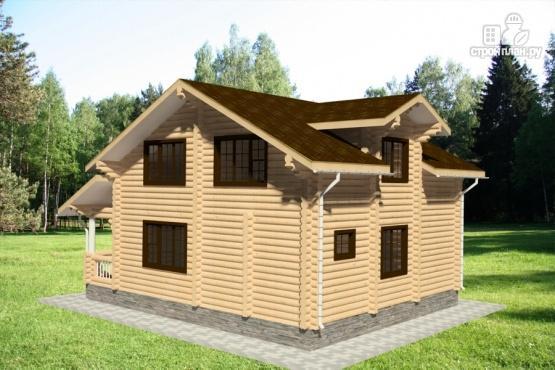 Фото 3: проект дом из бревна с балконом и угловой террасой