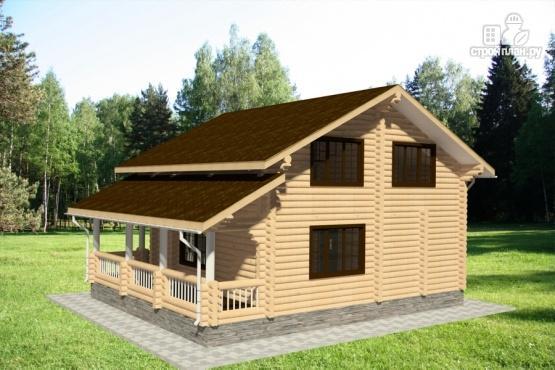 Фото 4: проект дом из бревна с балконом и угловой террасой