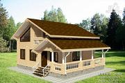Фото: дом из бревна с балконом и угловой террасой