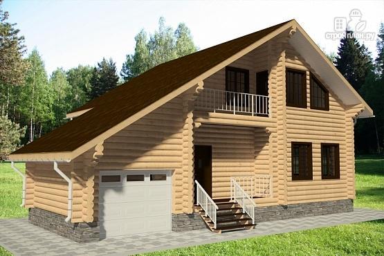 Фото 2: проект дом из бревна с балконом, террасой и гаражом