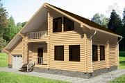 Проект дом из бревна с балконом, террасой и гаражом