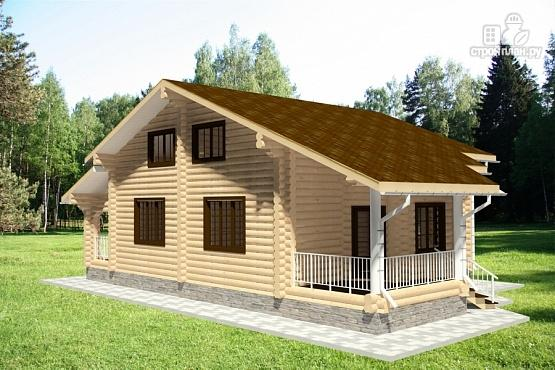 Фото 2: проект дом из бревна с двумя террасами