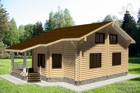 Фото: проект дом из бревна с двумя террасами
