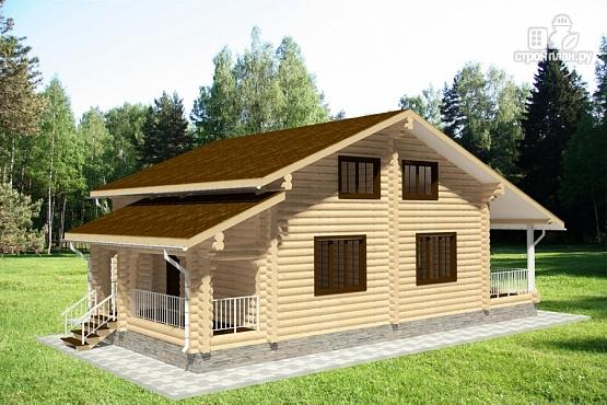 Фото 3: проект дом из бревна с двумя террасами