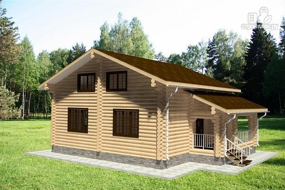 Фото 4: проект дом из бревна с двумя террасами