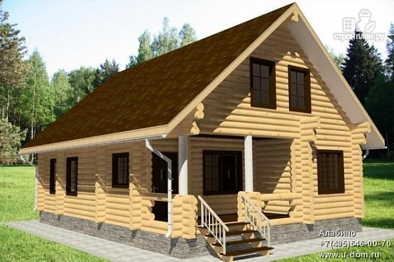 Фото: проект бревенчатый дом с террасой и парной
