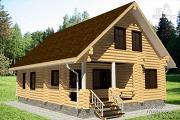 Проект бревенчатый дом с террасой и парной