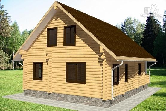 Фото 4: проект бревенчатый дом с террасой и парной
