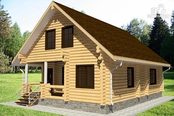 Фото 2: проект бревенчатый дом с террасой и парной