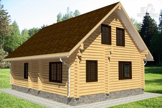 Фото 3: проект бревенчатый дом с террасой и парной