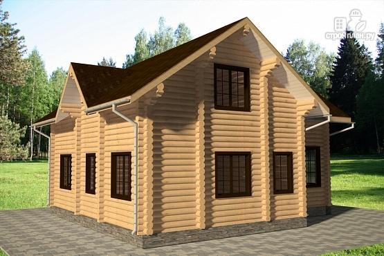 Фото 3: проект дом 10х11 из бревна с террасой
