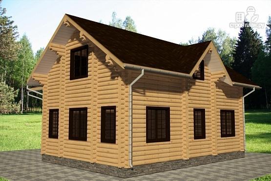 Фото 4: проект дом 10х11 из бревна с террасой