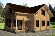 Проект дом 10х11 из бревна с террасой