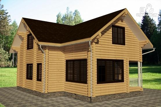 Фото 2: проект дом 10х11 из бревна с террасой