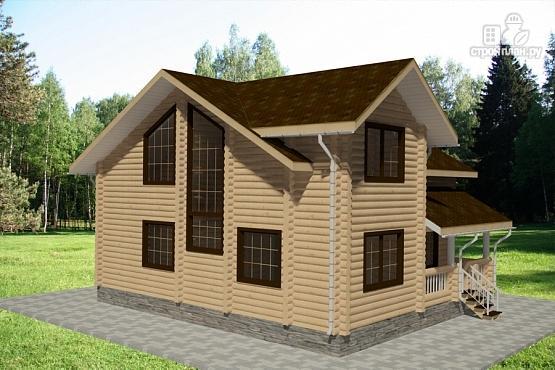 Фото 4: проект дом из бревна с балконом и террасой