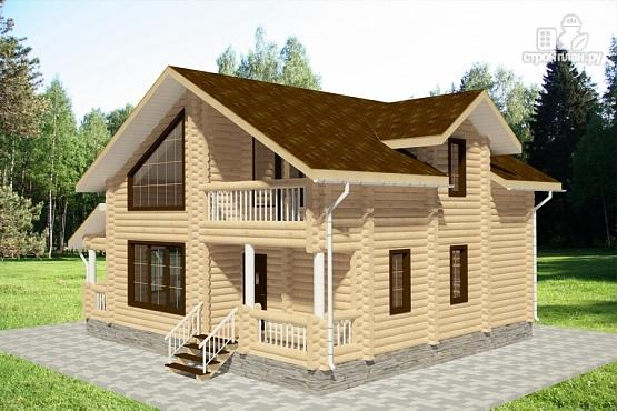 Фото 2: проект дом из бревна с балконом и террасой