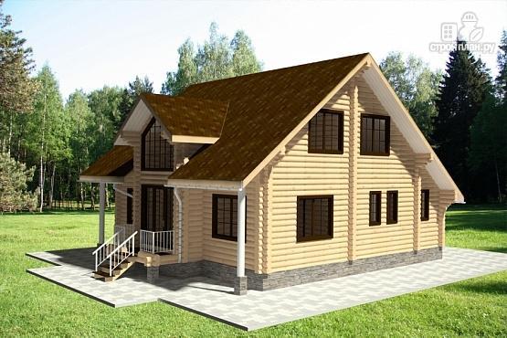 Фото 2: проект бревенчатый дом с мансардным этажом