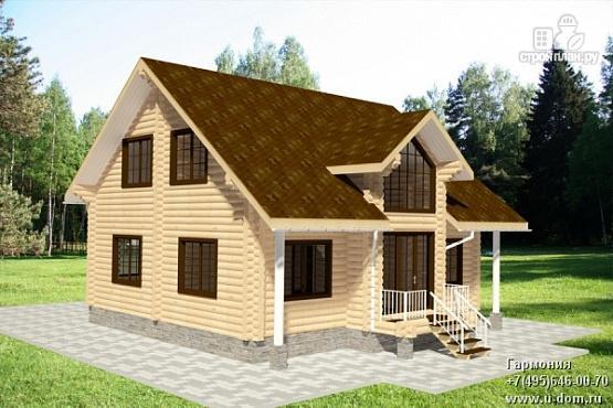 Фото: проект бревенчатый дом с мансардным этажом