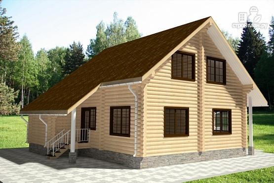 Фото 3: проект бревенчатый дом с мансардным этажом