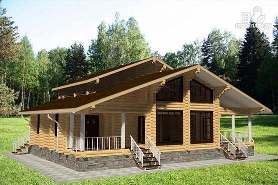 Фото 4: проект бревенчатый дом с двумя террасами и вторым светом