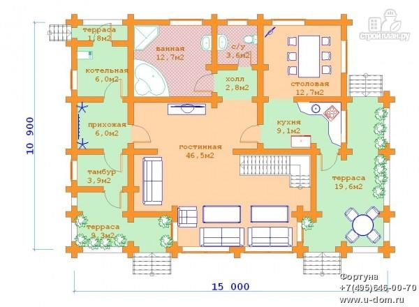 Фото 5: проект бревенчатый дом с двумя террасами и вторым светом